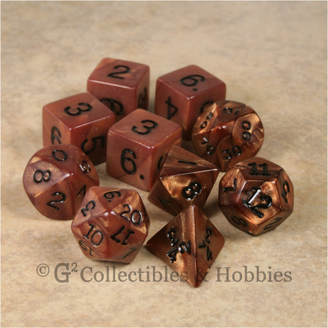 RPG Dice Set Olympic Bronze with Black Numbers 10pc