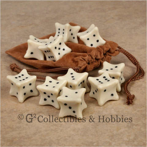 D6 10pc Dice Bones & Bag Set