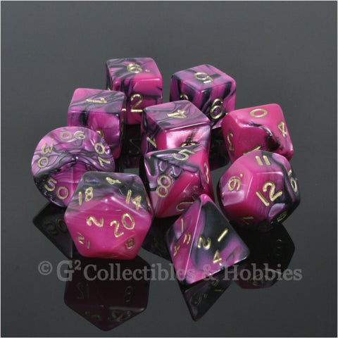 RPG Dice Set Toxic Black Pink with Gold Numbers 10pc