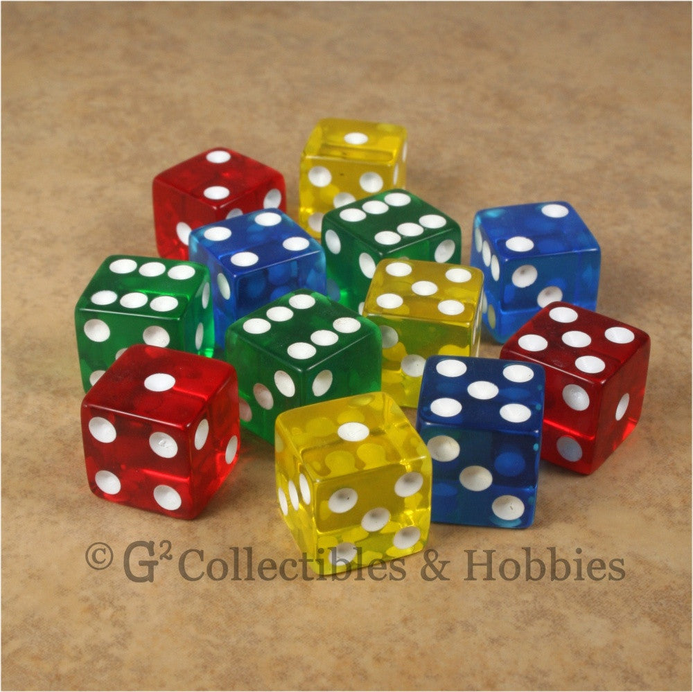 D6 16mm Transparent Multicolored 12pc Dice Set - Red Blue Green