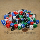 D6 12mm Opaque Multicolored 100pc Dice Set
