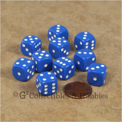 D6 12mm Rounded Edge Blue with White Pips 10pc Dice Set