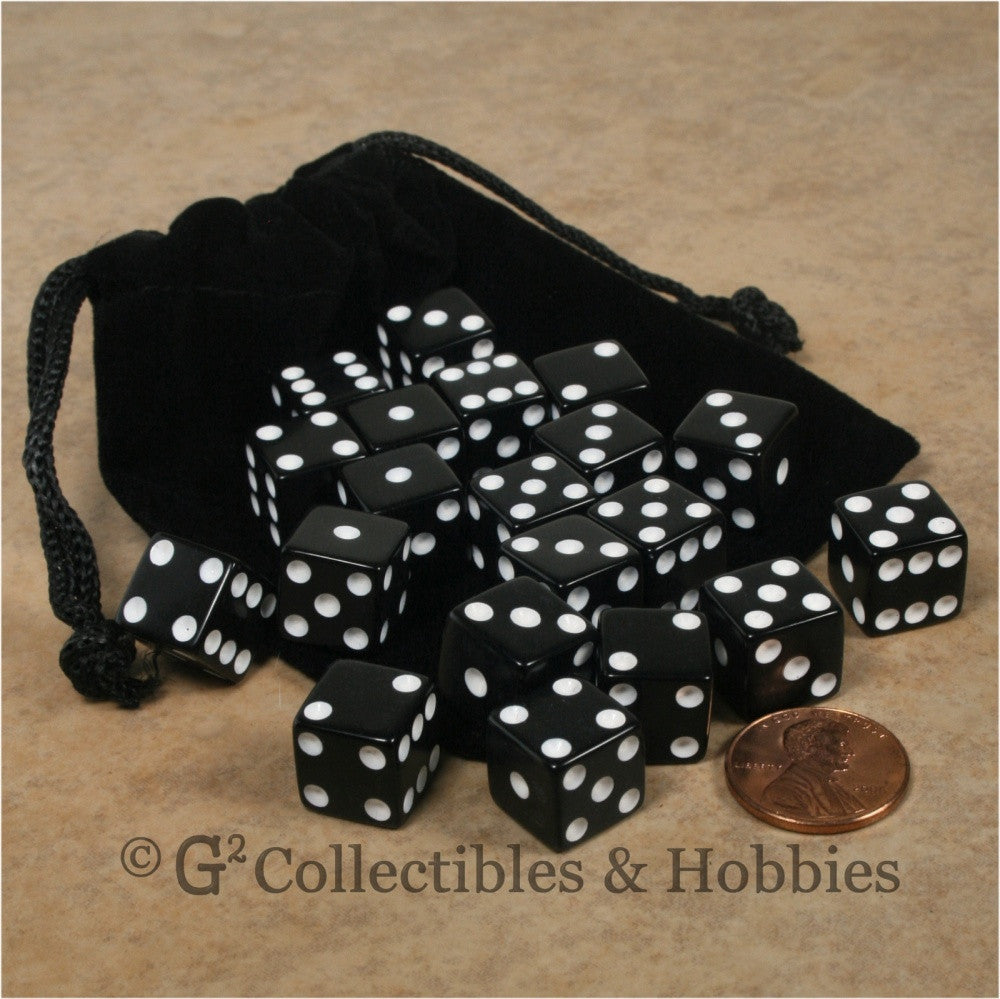 D6 12mm Opaque Black 20pc Dice & Bag Set
