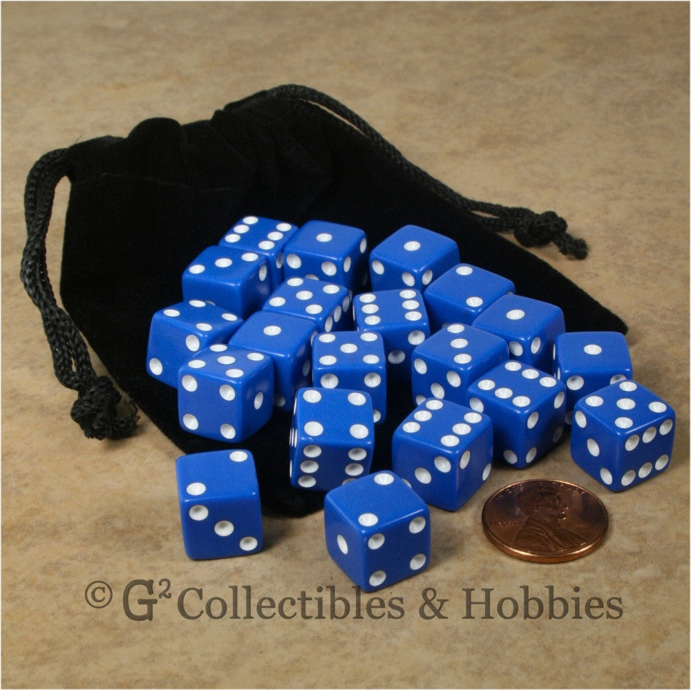 D6 12mm Opaque Blue 20pc Dice & Bag Set