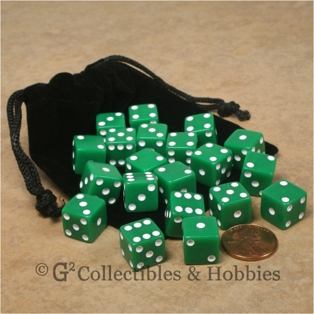 D6 12mm Opaque Green 20pc Dice & Bag Set