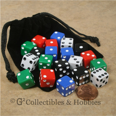 D6 12mm Opaque Multicolored 20pc Dice & Bag Set