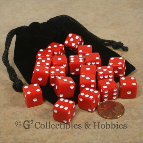 D6 12mm Opaque Red 20pc Dice & Bag Set