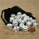 D6 12mm Opaque White 20pc Dice & Bag Set