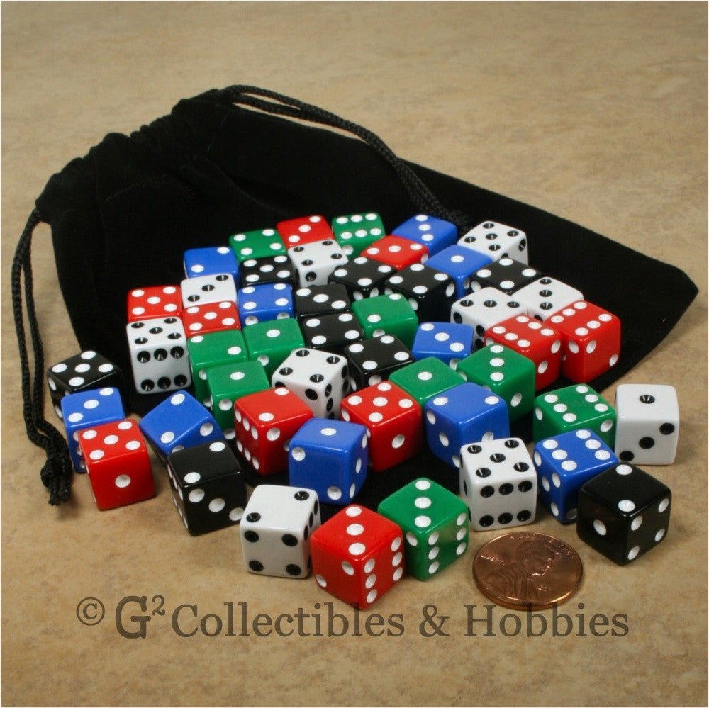 D6 12mm Opaque Multicolored 50pc Dice & Bag Set