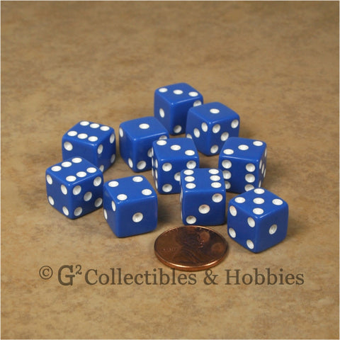 D6 12mm Opaque Blue with White Pips 10pc Dice Set