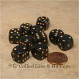 D6 12mm Rounded Edge Black with Gold Pips 10pc Dice Set