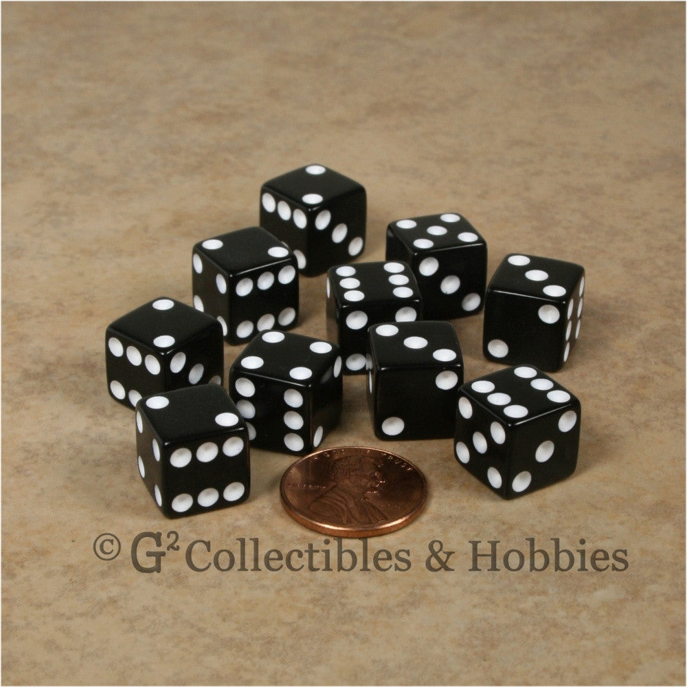 D6 12mm Opaque Black with White Pips 10pc Dice Set