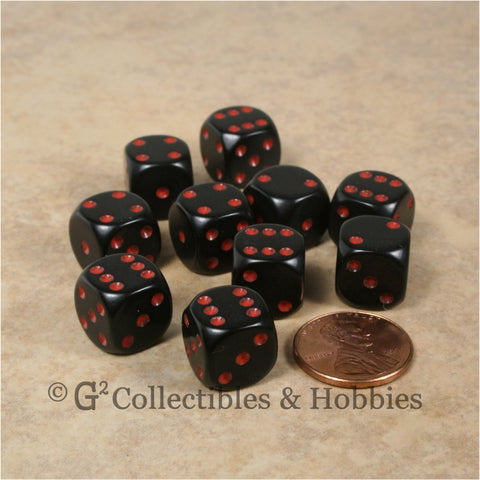 D6 12mm Rounded Edge Black with Red Pips 10pc Dice Set