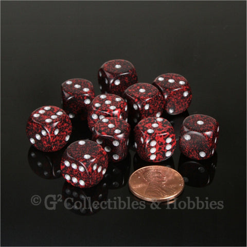 D6 12mm Speckled Silver Volcano with Silver Pips 10pc Dice Set