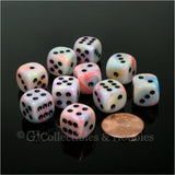 D6 12mm Festive Circus with Black Pips 10pc Dice Set