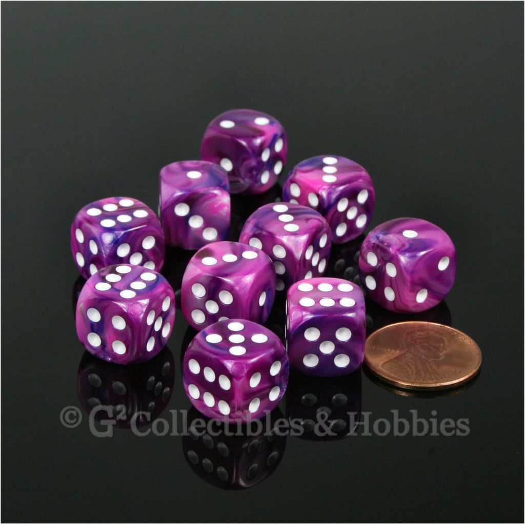 D6 12mm Festive Violet with White Pips 10pc Dice Set