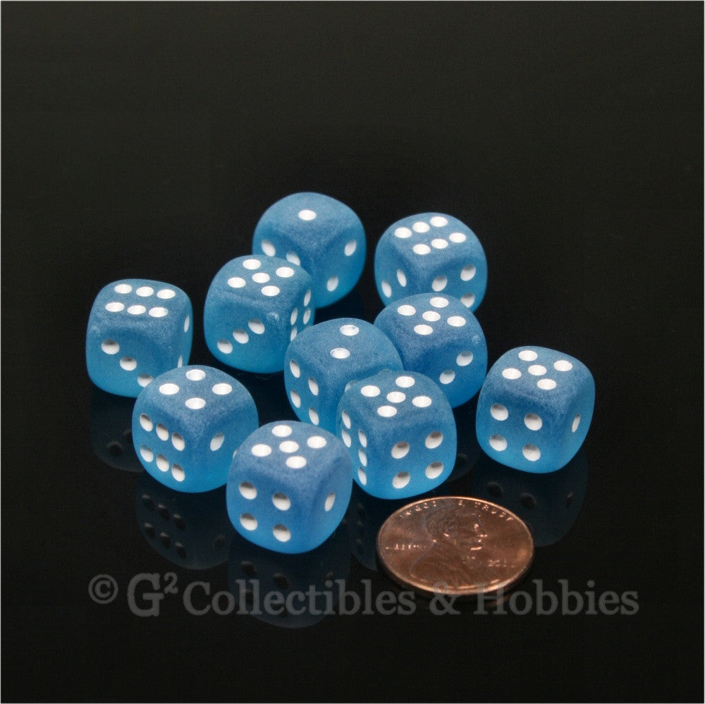 D6 12mm Frosted Caribbean Blue with White Pips 10pc Dice Set