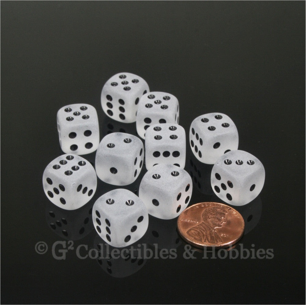 D6 12mm Frosted Clear with Black Pips 10pc Dice Set