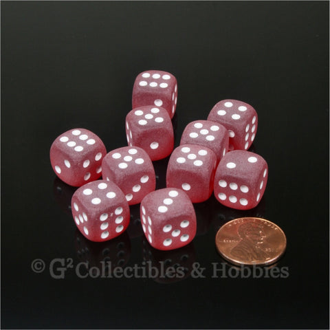 D6 12mm Frosted Red with White Pips 10pc Dice Set