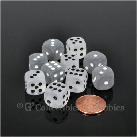 D6 12mm Frosted 10pc Dice Set - Smoke & Clear
