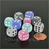 D6 12mm Frosted 10pc Dice Set - 5 Colors