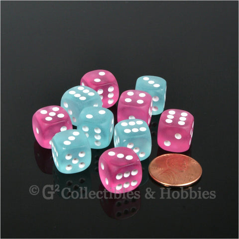 D6 12mm Frosted 10pc Dice Set - Pink & Teal