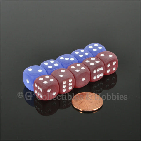 D6 12mm Frosted 10pc Dice Set - Red & Blue