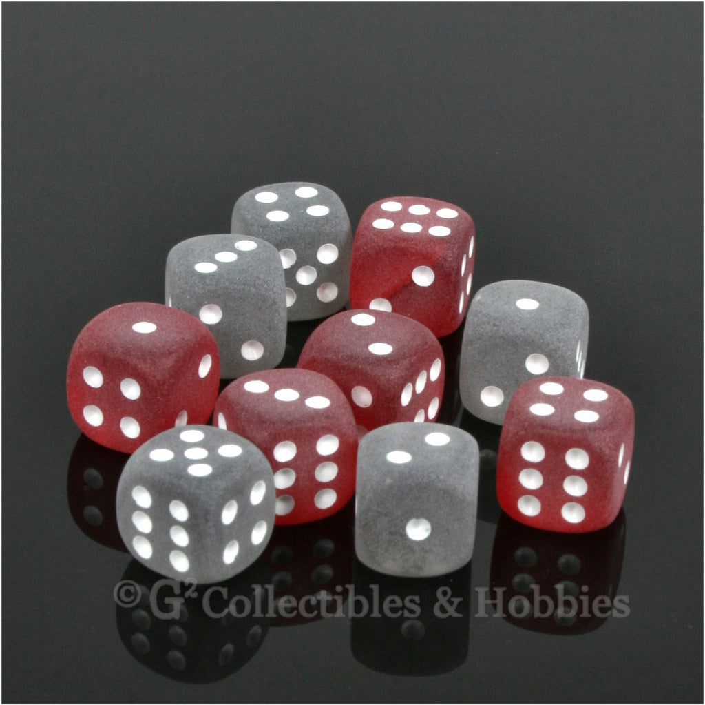 D6 12mm Frosted 10pc Dice Set - Smoke & Red