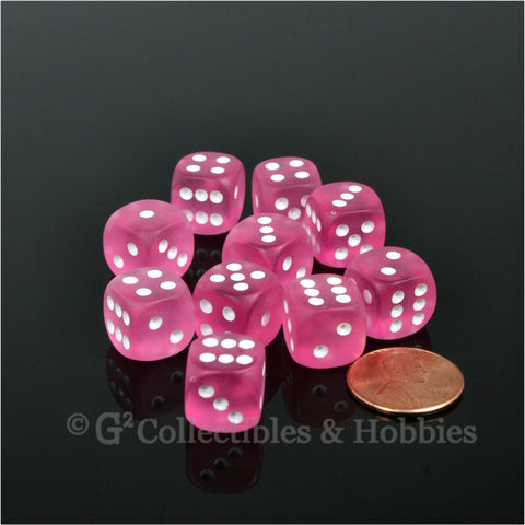 D6 12mm Frosted Pink with White Pips 10pc Dice Set