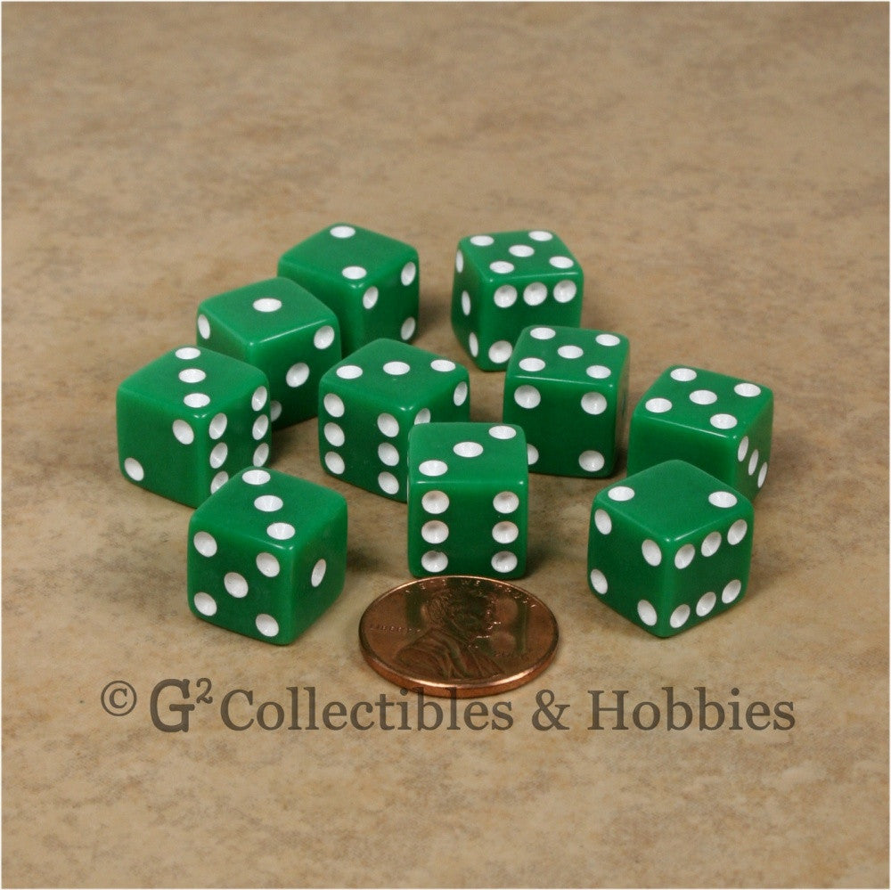 D6 12mm Opaque Green with White Pips 10pc Dice Set