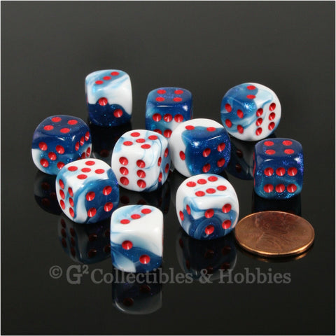 D6 12mm Gemini Astral Blue-White with Red Pips 10pc Dice Set