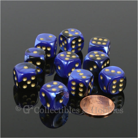 D6 12mm Gemini Blackl Blue with Gold Pips 10pc Dice Set