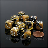 D6 12mm Gemini Black/Gold with Silver Pips 10pc Dice Set