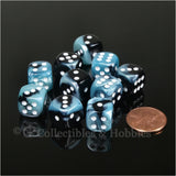 D6 12mm Gemini Black/Shell Blue with White Pips 10pc Dice Set