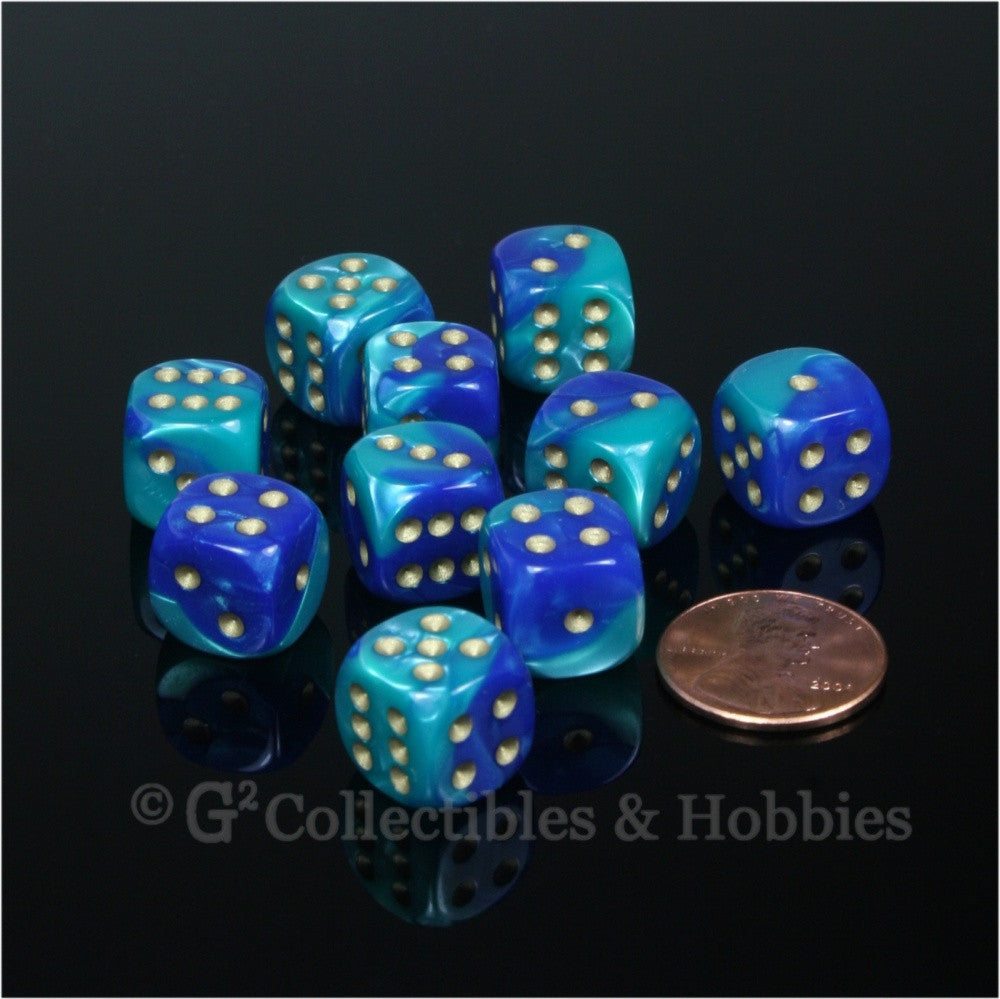 D6 12mm Gemini Blue/Teal with Gold Pips 10pc Dice Set