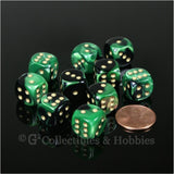 D6 12mm Gemini Black/Green with White Pips 10pc Dice Set