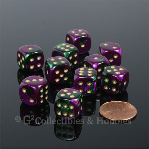 D6 12mm Gemini Purple/Green with Gold Pips 10pc Dice Set