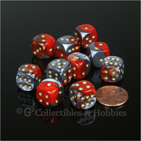 D6 12mm Gemini Orange/Steel Gray with Gold Pips 10pc Dice Set
