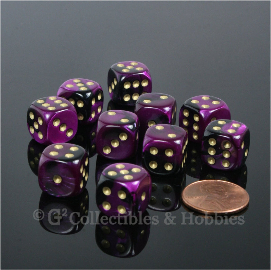 D6 12mm Gemini Black/Purple with Gold Pips 10pc Dice Set