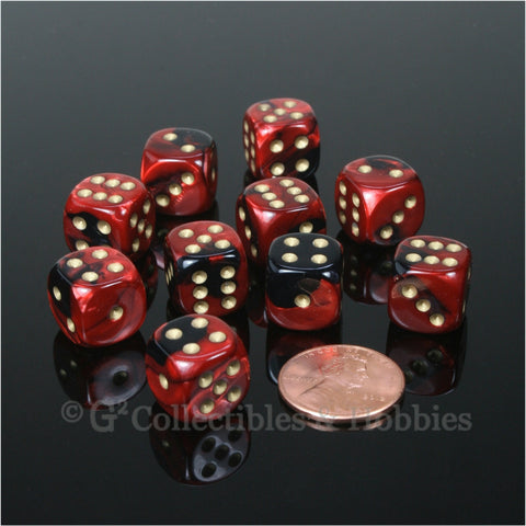 D6 12mm Gemini Black/Red with Gold Pips 10pc Dice Set