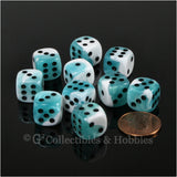 D6 12mm Gemini Teal-White with Red Pips 10pc Dice Set