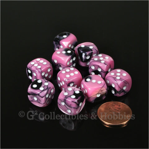 D6 12mm Gemini Black/Pink with White Pips 10pc Dice Set