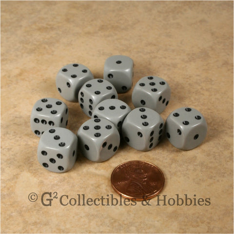 D6 12mm Rounded Edge Gray with Black Pips 10pc Dice Set