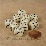 D6 12mm Rounded Edge Ivory with Black Pips 10pc Dice Set