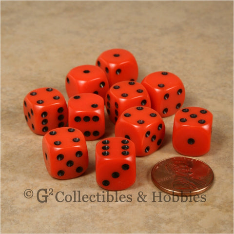 D6 12mm Rounded Edge Orange with Black Pips 10pc Dice Set