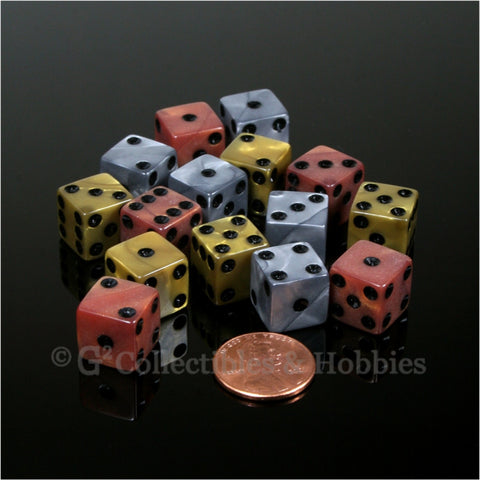 D6 12mm Pearlized Olympic Colors with Black Pips 15pc Dice Set