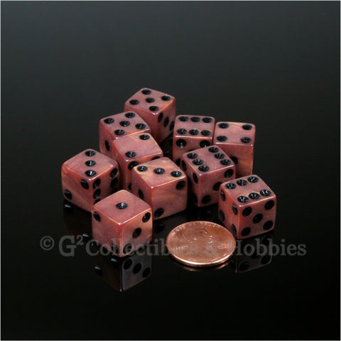 D6 12mm Pearlized Bronze with Black Pips 10pc Dice Set