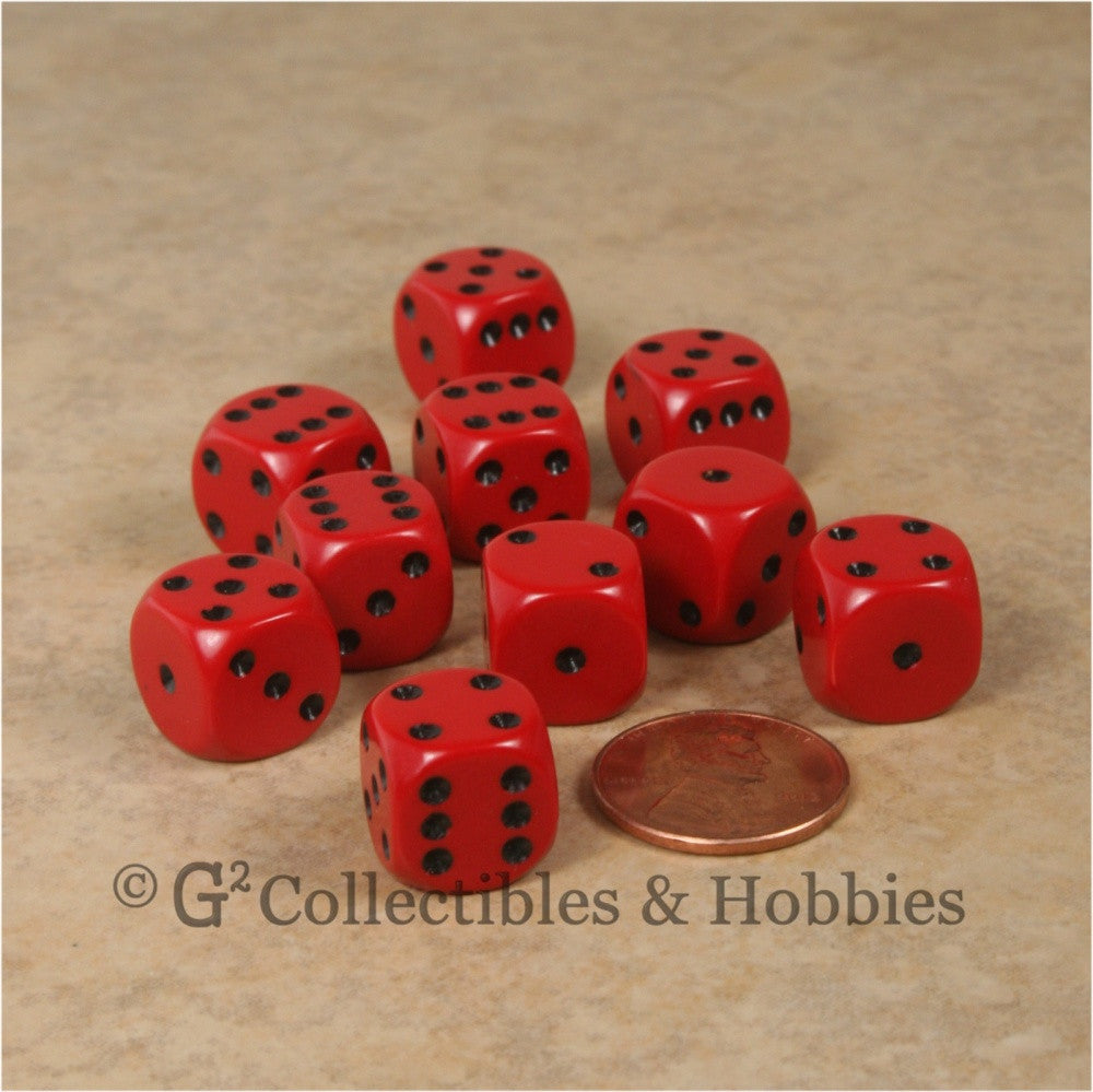 D6 12mm Rounded Edge Red with Black Pips 10pc Dice Set