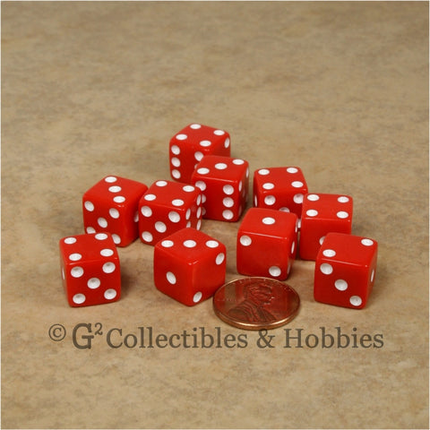 D6 12mm Opaque Red with White Pips 10pc Dice Set