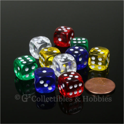 D6 12mm Transparent Multicolor 10pc Dice Set - 5 Colors